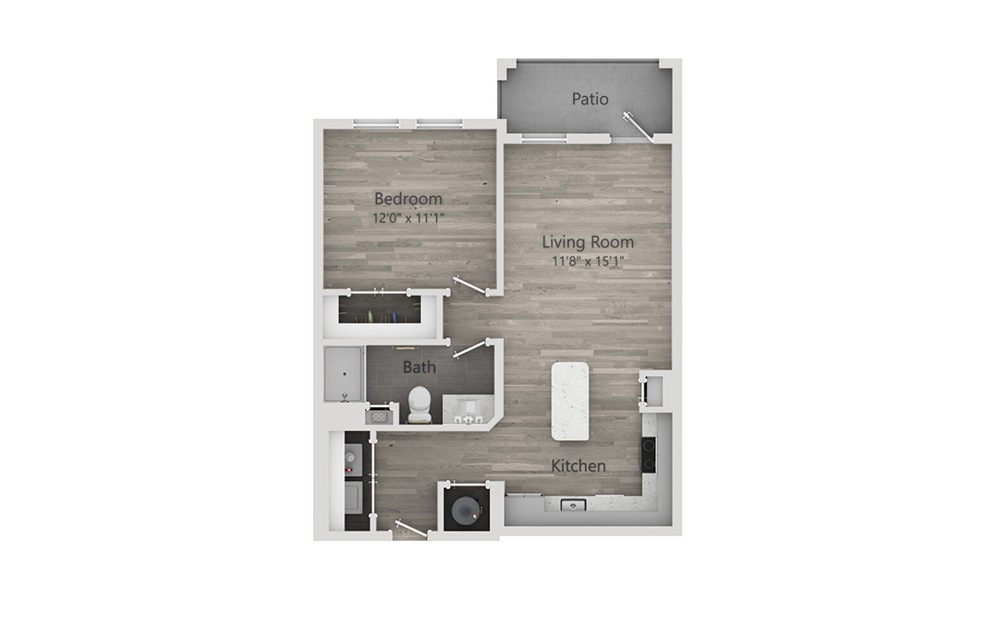 A1 - 1 bedroom floorplan layout with 1 bath and 708 square feet.