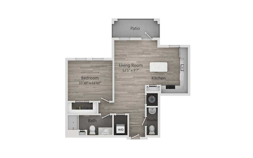 A2 - 1 bedroom floorplan layout with 1.5 bath and 736 square feet.