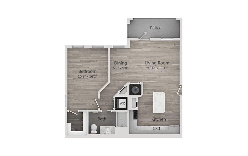 A3 - 1 bedroom floorplan layout with 1 bath and 762 square feet.