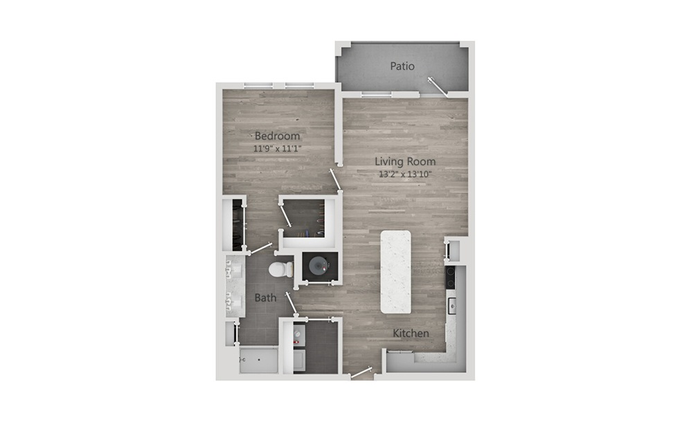 A4 - 1 bedroom floorplan layout with 1 bath and 805 square feet.