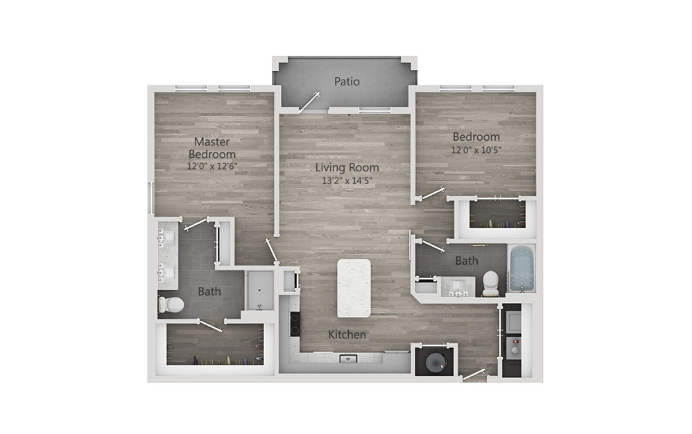 B1 - 2 bedroom floorplan layout with 2 baths and 1122 square feet.