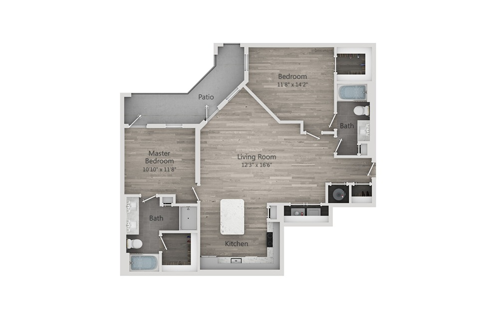 B2 - 2 bedroom floorplan layout with 2 baths and 1191 square feet.
