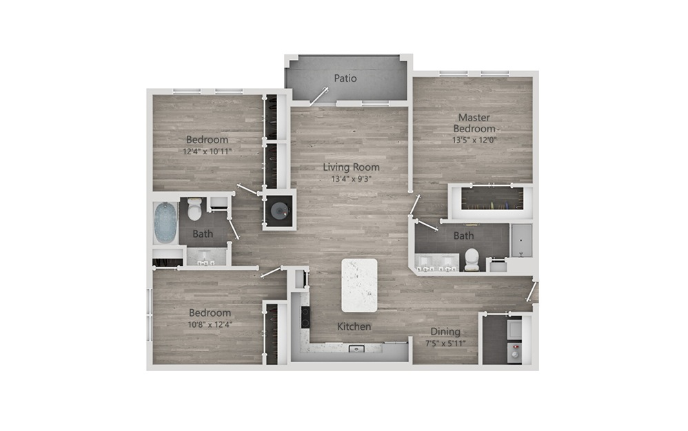 C1 - 3 bedroom floorplan layout with 2 baths and 1379 square feet.