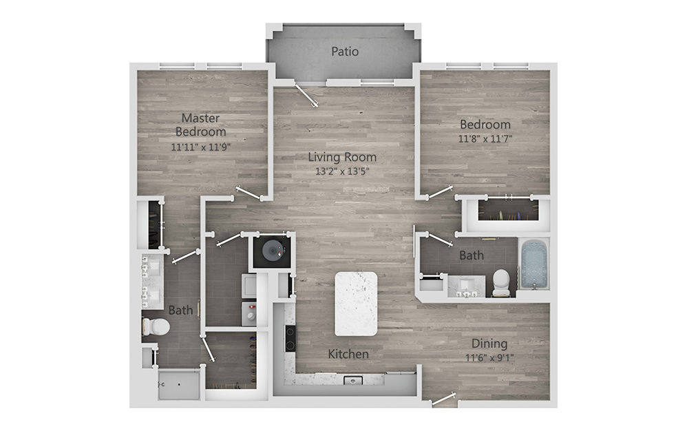 B4 - 2 bedroom floorplan layout with 2 baths and 1208 square feet.